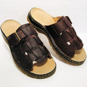 Dr. Martens 10 Brown Leather Slide Sandals